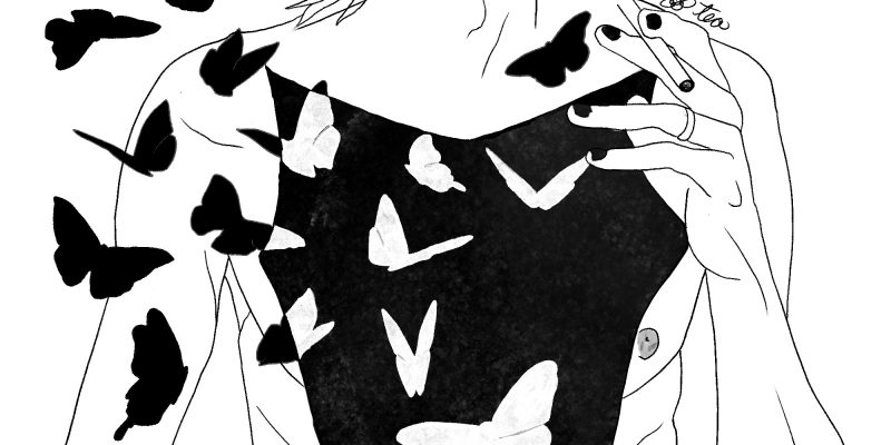 Black and white drawing of a man split open with an autopsy y cut. There are butterflies pouring out of his chest cavity.