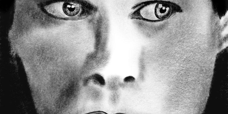 Charcoal sketch of Kurt Cobain's face.