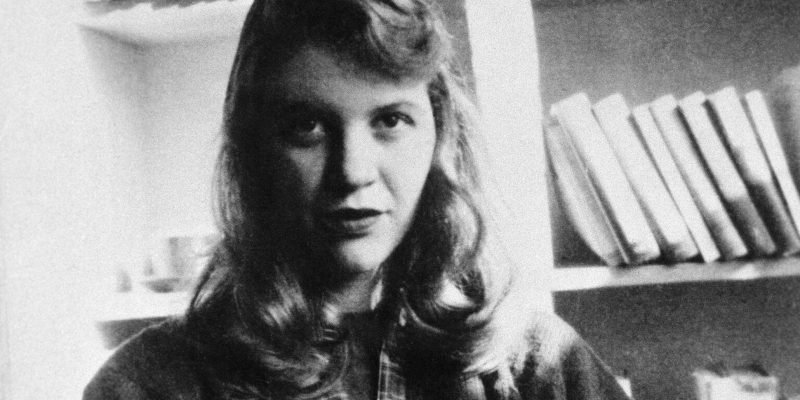 black and white photo of the poet, Sylvia Plath