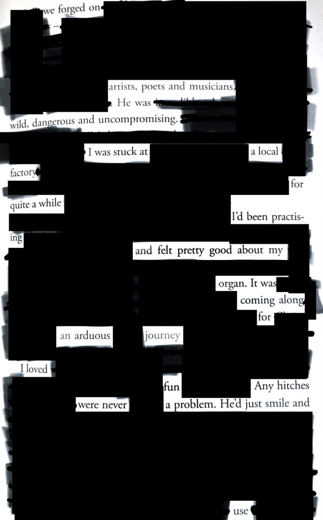 erasure poem using p. 143 from art sex music by Cosey Fanni Tutti (Faber & Faber, 2017)